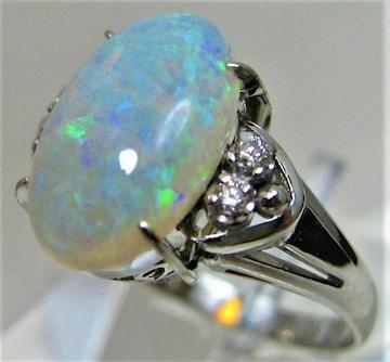 Pt900 プラチナ リング 指輪 オパール ダイヤ4ヶ入 サイズ#14