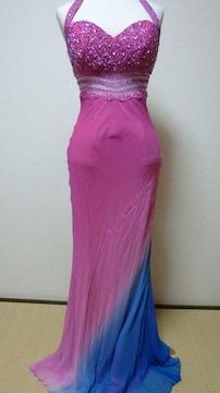 シルク100%グラディションがキレイな高級ロングドレス♪