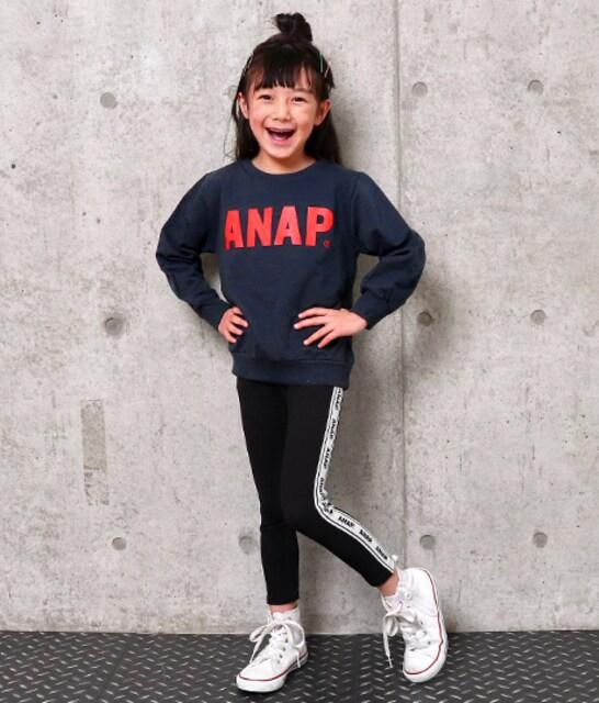 新品ANAPKIDS☆120 ロゴ トレーナー ネイビー アナップキッズ < ブランドの
