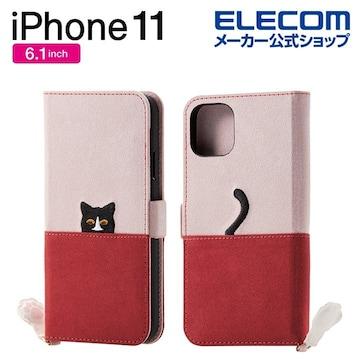 ★ELECOM iPhone11 ファブリックケース ネコ カバー Pi×Br