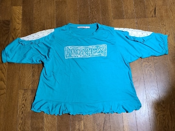 送料無料/大きいサイズ4Lアクアブルー袖レースデザイン裾フレア五分袖Tシャツ