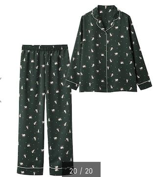 GU・猫キャットスター柄ダークグリーンサテン長袖パジャマ