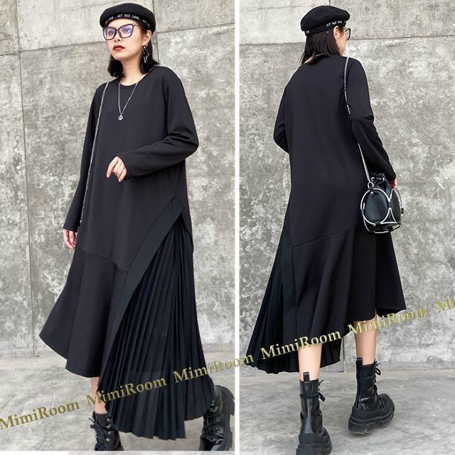 〜3L【F〜大きいサイズ】サイドプリーツ切替ヘムライン ミモレ丈ワンピース < 女性ファッションの