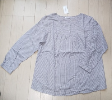 LL★Edelweiss★ストライプコットンブラウス★ストライプシャツ★大きいサイズ