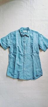 ★UNIQLO青色ブルー爽やか涼しげ♪綿コットン麻リネン半袖シャツ