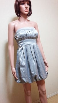 未使用品☆プリーツいっぱい銀バルーンのドレス☆3点で即落