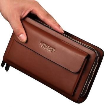 長財布 ダブルラウンドファスナー 大容量 多機能 茶色