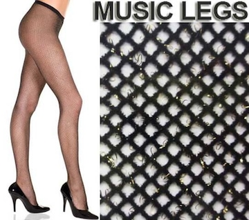 A1581)MUSICLEGSグリッターラメ入り網タイツ黒ブラックゴールドストッキングウエディング