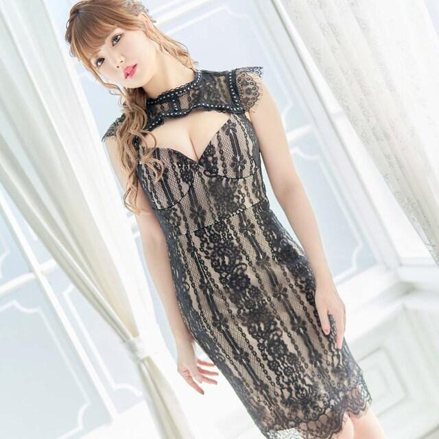 セクシーデザイン 肌見せ 胸見せ ミニドレス キャバ 衣装 ミニワンピ チャムドレス < 女性ファッションの