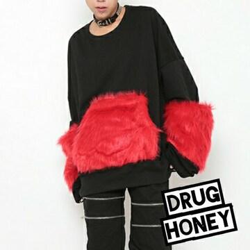 DrugHoney★袖&ポケットファープルオーバー/赤