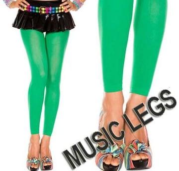 A1610)MUSICLEGSレギンスオペークタイツ緑グリーンレゲエダンサーダンス衣装ストッキング