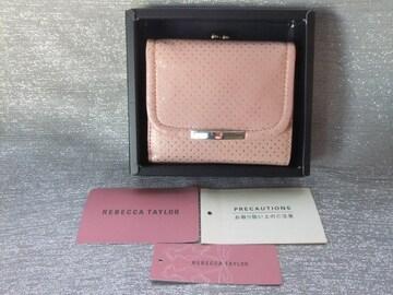 新品箱付■レベッカテイラー■がま口二つ折財布/ドットピンク¥15400