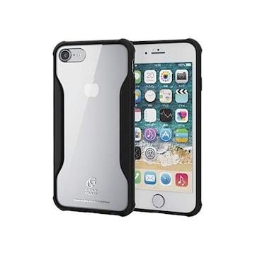 ★ELECOM iphone8 ハイブリッド ケース ガラス 耐衝撃設計