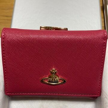 ヴィヴィアンウエストウッドオーブ赤三つ折りがま口財布ミニ財布