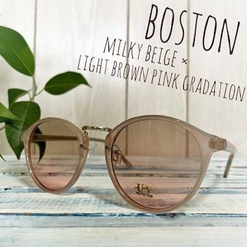 【新品未使用】ボストン クリア サングラス ピンク ブラウン