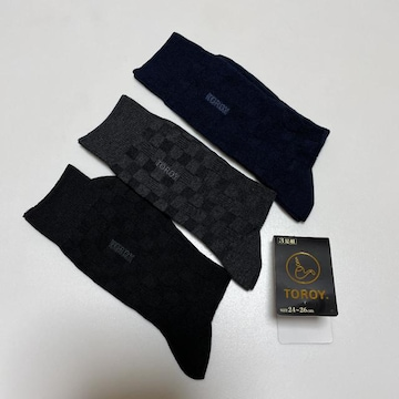 トロイ  TOROY  靴下 ビジネス靴下 ロゴ刺繍 3足セット