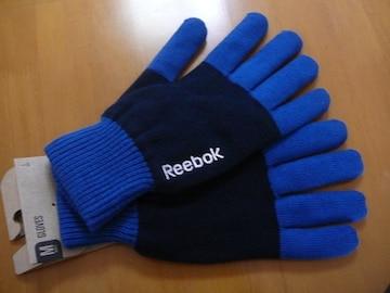 リーボックニット手袋Mサイズ紺ブルーロゴ刺繍