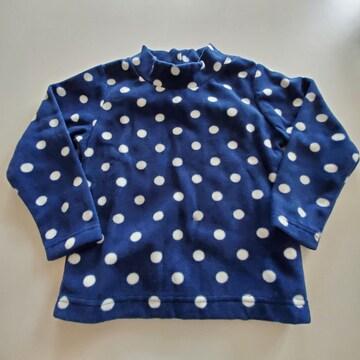 紺に白水玉もよう長袖Tシャツ100