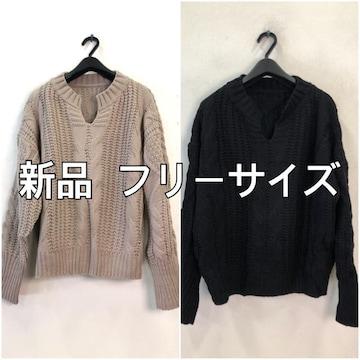 新品☆フリーサイズ♪ざっくり編みお洒落ニットを2枚♪☆f351