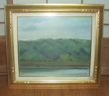 """湖と山の絵画ガラス入り額付きタイトル""""晩春"""""""