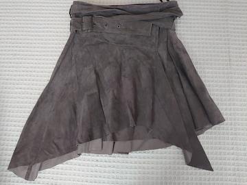 ☆美品 SCOT CLUB チャコール レザーアシメスカート☆豚革 М