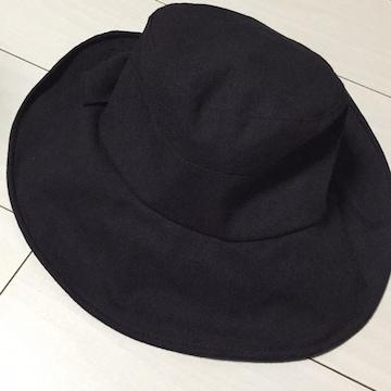 女優帽☆つば広帽☆帽子☆黒☆ブラック☆無地☆リボン