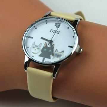 ◆猫大好き◆猫柄腕時計 DZG クリーム Wa03cr