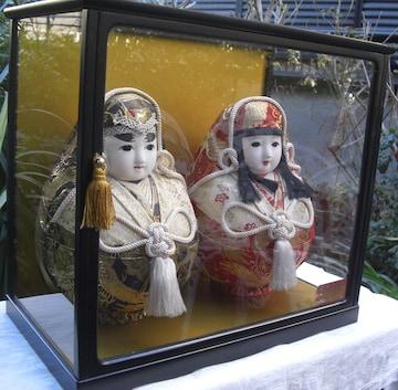 伝統工芸昭和レトロ「姫ダルマ対」 ケース付中古美品0130