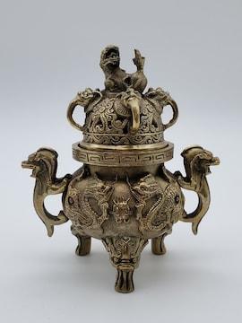 香炉 獅子 龍 置物 風水 インテリア アンティーク