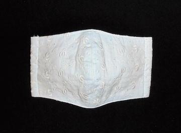 即決◆白スィートピー花レース×アイスブルー下地◆ファッションマスク