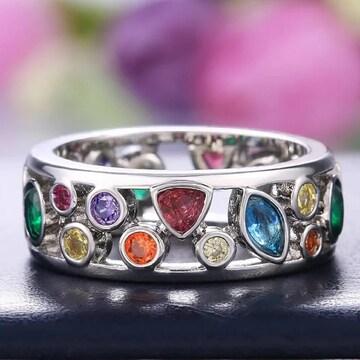 カラフル リング 指輪 アクセサリー 11号 キラキラ