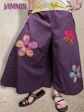 お花付きワイドパンツ★エスニック★アジアン★ヒッピー★紫★