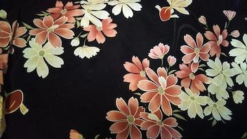 浴衣 美品 黒地に桜と金魚 綿100%