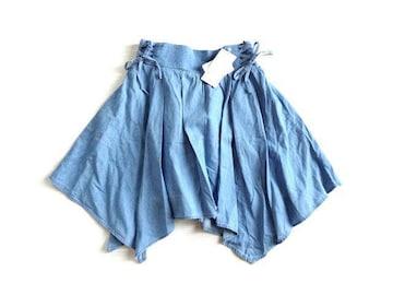 新品 casse 編み上げ ヘム アシメトリー フレア スカート