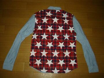 SOPHNET.ソフネット星柄バックパネルBDシャツ S SAX STAR