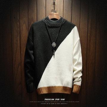 斜めツートンカラー ブラックホワイト セーター