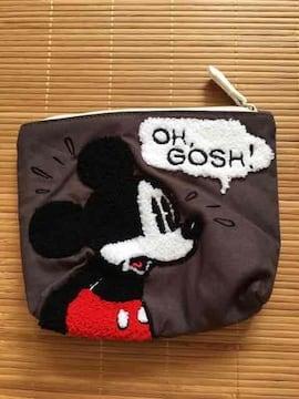 ディズニー・ミッキーマウスサガラ刺繍ポーチ。カーキ