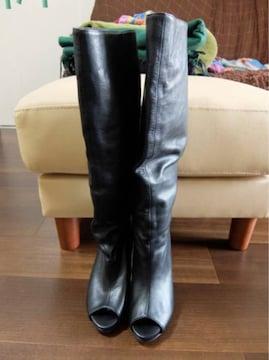 インポート黒本革プラットフォームロングブーツ35美品