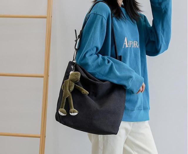 新品キャンバス生地ショルダーバックトートバッグ黒ブラッグ*レディース  < 女性ファッションの
