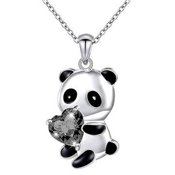 新品1円〜★送料無料★パンダの贈物 ブラックダイヤ ハート シルバーネックレス