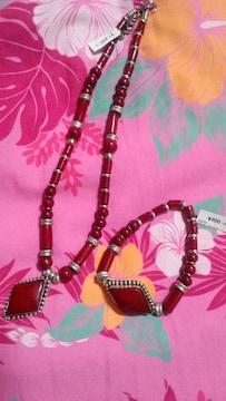 チャイハネ購入★新品★ネックレス&ブレス★赤★男女兼用★込み