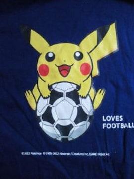 サッカー adidas アディダス キリン 勝ちT ポケモン ピカチュウ Tシャツ ブルー Lサイズ