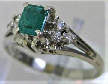 Pt900プラチナ リング 指輪 エメラルド 0.29ct ダイヤ 0.12ct