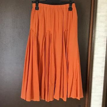 コットン100%ウエストゴムフレアースカート