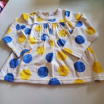 白に青と黄色の水玉、長袖チュニック100