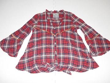 衣類 レディース 約S〜Mサイズ 七分袖シャツ チェック柄