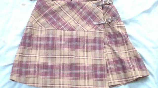 新品♪メイプルクリークスカジュアルスーツ上下セット茶色×紫 < 女性ファッションの