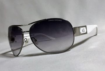 正規激レア セレブ愛用 ARMANIアルマーニ ティアドロップ ロゴメタルサングラス黒×白