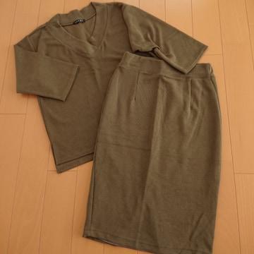 新品未使用★イング★ミラノリブタイトスカート/セットアップ7分袖 カーキ/M INGNI