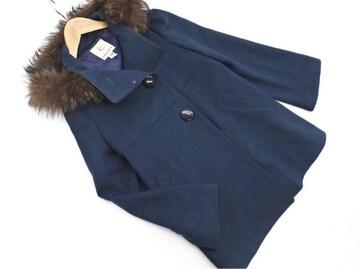 美品☆組曲(クミキョク)ラクーンファー付きウールコート☆